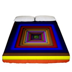 Square Abstract Geometric Art Fitted Sheet (california King Size) by Amaryn4rt
