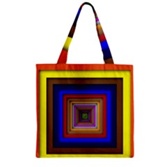 Square Abstract Geometric Art Zipper Grocery Tote Bag by Amaryn4rt
