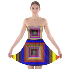 Square Abstract Geometric Art Strapless Bra Top Dress