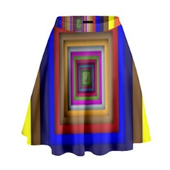 Square Abstract Geometric Art High Waist Skirt by Amaryn4rt