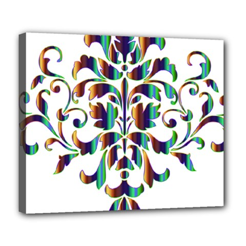 Damask Decorative Ornamental Deluxe Canvas 24  X 20   by Amaryn4rt