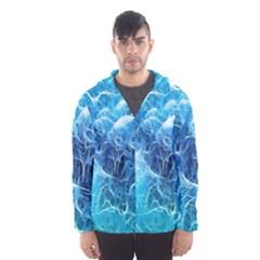 Fractal Occean Waves Artistic Background Hooded Wind Breaker (men) by Amaryn4rt