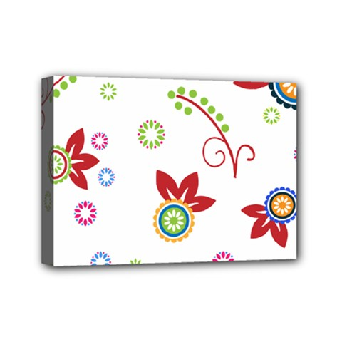 Colorful Floral Wallpaper Background Pattern Mini Canvas 7  X 5  by Amaryn4rt