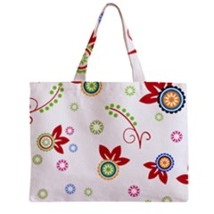 Colorful Floral Wallpaper Background Pattern Zipper Mini Tote Bag