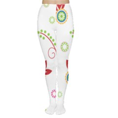 Colorful Floral Wallpaper Background Pattern Women s Tights by Amaryn4rt