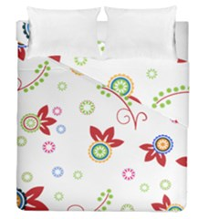 Colorful Floral Wallpaper Background Pattern Duvet Cover Double Side (queen Size) by Amaryn4rt