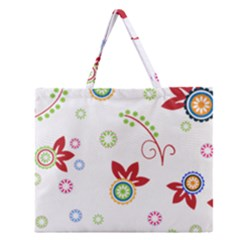 Colorful Floral Wallpaper Background Pattern Zipper Large Tote Bag by Amaryn4rt