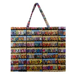Flower Seeds For Sale At Garden Center Pattern Zipper Large Tote Bag by Amaryn4rt