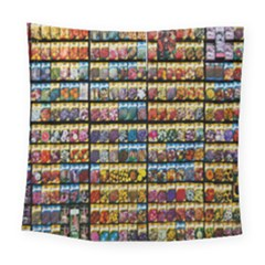 Flower Seeds For Sale At Garden Center Pattern Square Tapestry (large) by Amaryn4rt