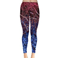 Autumn Fractal Forest Background Leggings  by Amaryn4rt