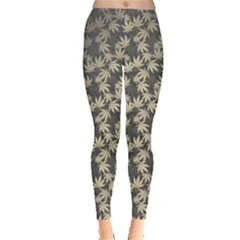 Gray Marijuana Cannabis Leggings