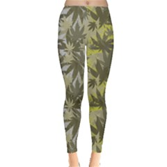Gray Olive Marijuana Cannabis Leggings  by PattyVilleDesigns