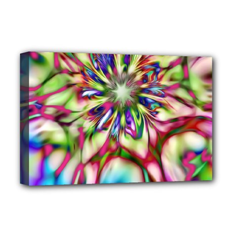 Magic Fractal Flower Multicolored Deluxe Canvas 18  X 12   by EDDArt