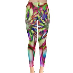 Magic Fractal Flower Multicolored Leggings  by EDDArt