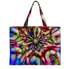 Magic Fractal Flower Multicolored Zipper Mini Tote Bag by EDDArt