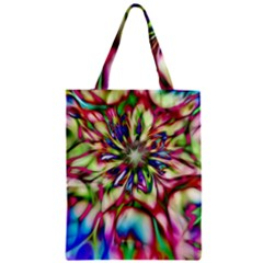 Magic Fractal Flower Multicolored Zipper Classic Tote Bag by EDDArt