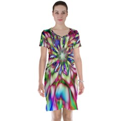 Magic Fractal Flower Multicolored Short Sleeve Nightdress by EDDArt