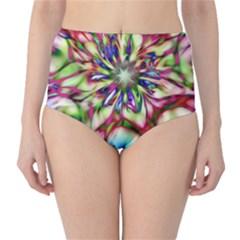 Magic Fractal Flower Multicolored High Waist Bikini Bottoms by EDDArt