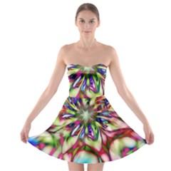 Magic Fractal Flower Multicolored Strapless Bra Top Dress by EDDArt