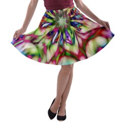 Magic Fractal Flower Multicolored A Line Skater Skirt by EDDArt