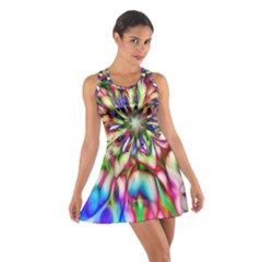 Magic Fractal Flower Multicolored Cotton Racerback Dress by EDDArt