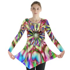 Magic Fractal Flower Multicolored Long Sleeve Tunic  by EDDArt