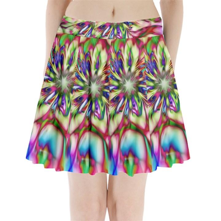Magic Fractal Flower Multicolored Pleated Mini Skirt