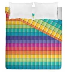 Pattern Grid Squares Texture Duvet Cover Double Side (queen Size) by Amaryn4rt