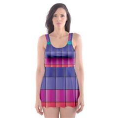 Pattern Grid Squares Texture Skater Dress Swimsuit by Amaryn4rt