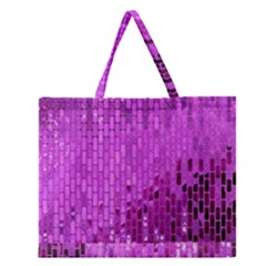 Purple Background Scrapbooking Paper Zipper Large Tote Bag by Amaryn4rt