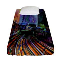 Downtown Chicago Fitted Sheet (single Size) by Amaryn4rt