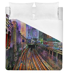 Downtown Chicago Duvet Cover (queen Size) by Amaryn4rt