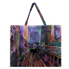 Downtown Chicago Zipper Large Tote Bag