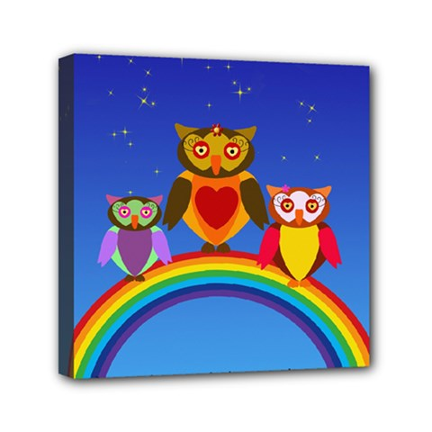 Owls Rainbow Animals Birds Nature Mini Canvas 6  X 6  by Amaryn4rt