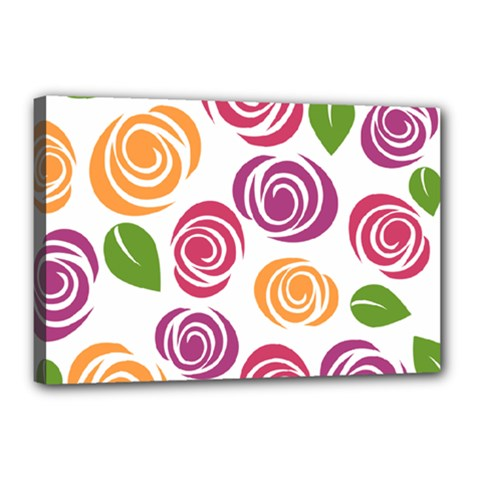 Colorful Seamless Floral Flowers Pattern Wallpaper Background Canvas 18  X 12  by Amaryn4rt