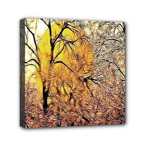 Summer Sun Set Fractal Forest Background Mini Canvas 6  X 6  by Amaryn4rt