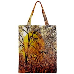 Summer Sun Set Fractal Forest Background Zipper Classic Tote Bag by Amaryn4rt