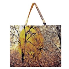 Summer Sun Set Fractal Forest Background Zipper Large Tote Bag by Amaryn4rt
