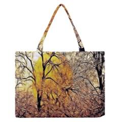 Summer Sun Set Fractal Forest Background Medium Zipper Tote Bag by Amaryn4rt