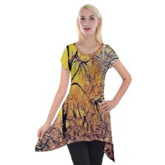 Summer Sun Set Fractal Forest Background Short Sleeve Side Drop Tunic