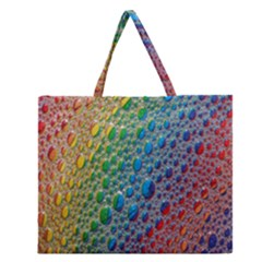 Bubbles Rainbow Colourful Colors Zipper Large Tote Bag by Amaryn4rt