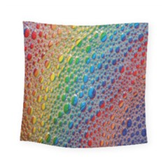 Bubbles Rainbow Colourful Colors Square Tapestry (small) by Amaryn4rt
