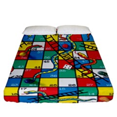Snakes And Ladders Fitted Sheet (california King Size) by Amaryn4rt