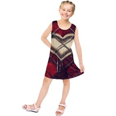 Love Hearth Background Scrapbooking Paper Kids  Tunic Dress by Amaryn4rt