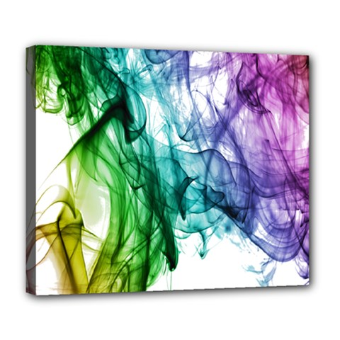 Colour Smoke Rainbow Color Design Deluxe Canvas 24  X 20