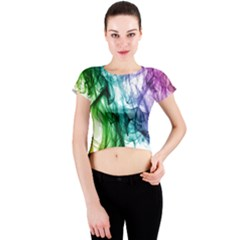 Colour Smoke Rainbow Color Design Crew Neck Crop Top
