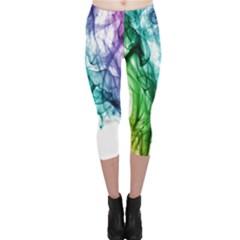 Colour Smoke Rainbow Color Design Capri Leggings
