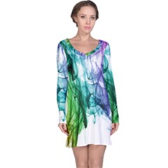 Colour Smoke Rainbow Color Design Long Sleeve Nightdress