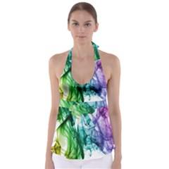 Colour Smoke Rainbow Color Design Babydoll Tankini Top