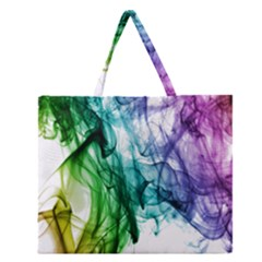 Colour Smoke Rainbow Color Design Zipper Large Tote Bag by Amaryn4rt